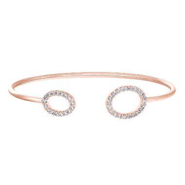 Rose Gold Sterling Silver Simulated Diamond Cuff Bracelet