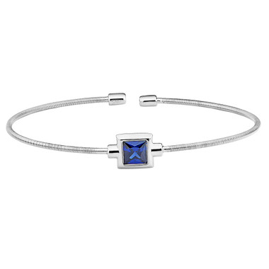 Simulated Blue Topaz Sterling Silver Cuff Bracelet