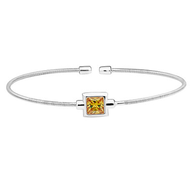 Princess Cut Simulated Citrine Sterling Silver Bella Cavo Cable Cuff Bracelet
