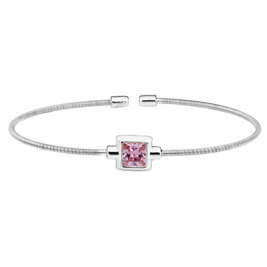 Princess Cut Simulated Pink Sapphire Sterling Silver Bella Cavo Cable Cuff Bracelet