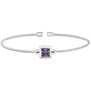 Princess Cut Simulated Light Amethyst Sterling Silver Bella Cavo Cable Cuff Bracelet