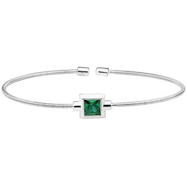 Princess Cut Simulated Emerald Sterling Silver Bella Cavo Cable Cuff Bracelet