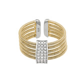 Multi Cable and Simulated Diamond Cuff Ring