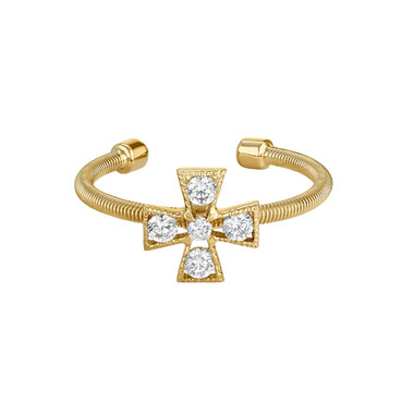 Yellow Gold Finish Cross Ring