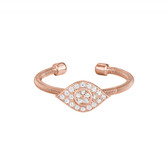 Rose Gold Finish Evil Eye Flexible Cuff Ring
