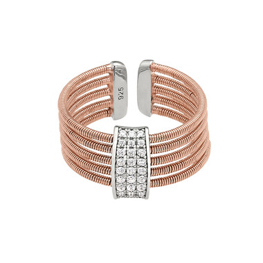 Rose Gold Finish and Simulated Diamond Cuff Ring