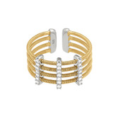 Gold Finish Sterling Silver Multi Cable Cuff Ring Simulated Diamond Vertical Bars