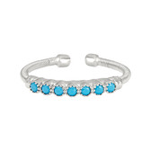 Sterling Silver Cable Cuff Ring with Beaded Bezel Set Simulated Turquoise