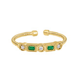 Gold Finish Sterling Silver Cable Cuff Ring with Simulated Emeralds and Simulated Diamonds