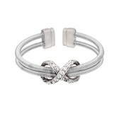 Infinity Inspired Sterling Silver Two Cable Cuff Ring with Rhodium Finish and Simulated Diamonds