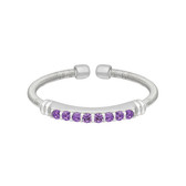 Sterling Silver Cable Cuff Ring with Simulated Amethyst Birth Gems - February