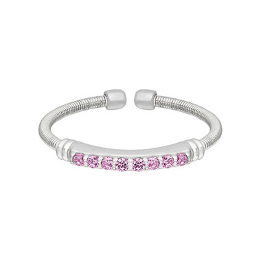 Simulated Pink Sapphire Cuff Ring