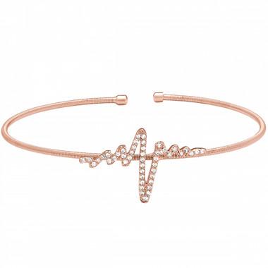 Rose Gold Finish Heartbeat Cuff Bracelet