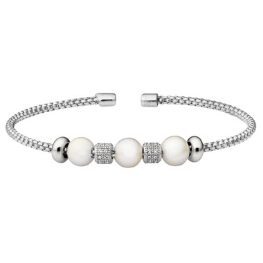 Simulated Pearl and Diamond Cuff Bracelet