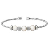 Simulated Pearl and Diamond Cuff Bracelet