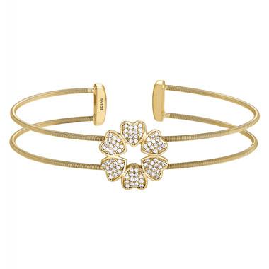 5 Heart Simulated Diamond Cuff Bracelet