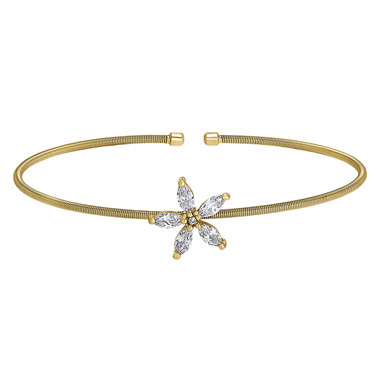 Yellow Gold Finish Flower Cuff Bracelet