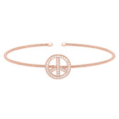 Rose Gold Finish Sterling Silver Cable Cuff Peace Sign Bracelet with Simulated Diamonds