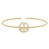 Yellow Gold Finish Peace Sign Bracelet