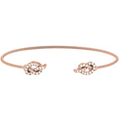 Rose Gold Finish Sterling Silver Cable Cuff Bracelet with Simulated Diamond Knots