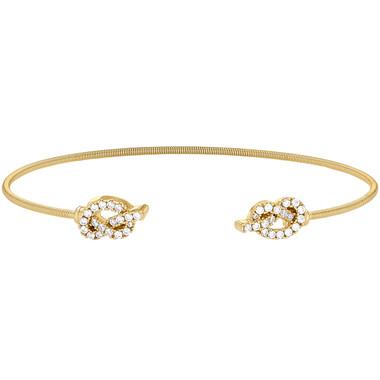 Yellow Gold Finish Love Knot Cuff Bracelet