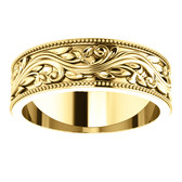 SZ 11.5 - 14k Yellow Gold Sculptural-Inspired Milgrain Bridal Wedding Band 6.0mm