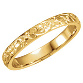 14k yellow gold hand engraved floral design wedding band