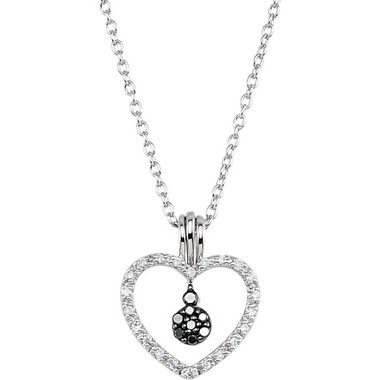 Black and White Diamond Heart Necklace