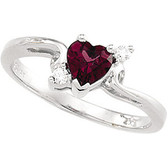 Garnet and Diamond Heart Ring