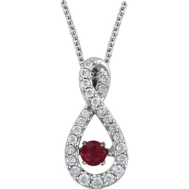 "Mystara™ 14kt White Gold Ruby & 1/6 CTW Diamond 18"" Necklace."