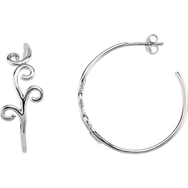 Sterling Hoop Floral Design Earrings