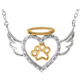 Tender voices paw, heart, and wing necklace