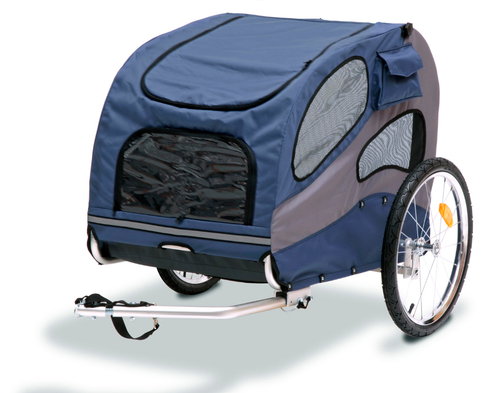 Large Steel Frame Houndabout Classic Pet Bicycle Trailer has a weight limit of 110 lbs.