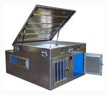 Top Dog Diamond Plate Aluminum Hunting Dog Box features a large top storage compartment