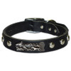 """Head Honcho"" Custom Made Dog Collar shown on black studded leather"