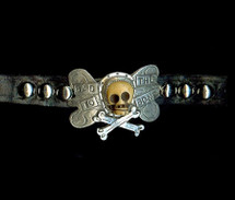 """Bad To The Bone"" Small Breed Custom Made Dog Collar"
