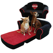 Hustler Black & Red Dog Sleeper Sofa