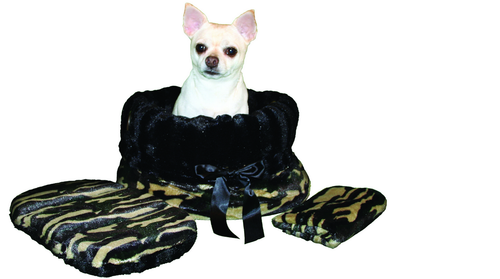 3-In-1 Reversible Came Snuggle Bug functions as a pet bed, a car seat or a shoulder tote.