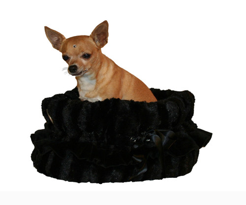 3-In-1 Reversible Black Snuggle Bug functions as a pet bed, a car seat or a shoulder tote.