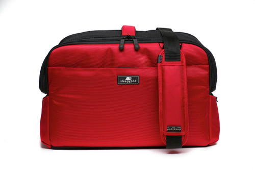 Red Sleepypod Atom Airline Approved Pet Carrier has an adjustable, padded shoulder strap