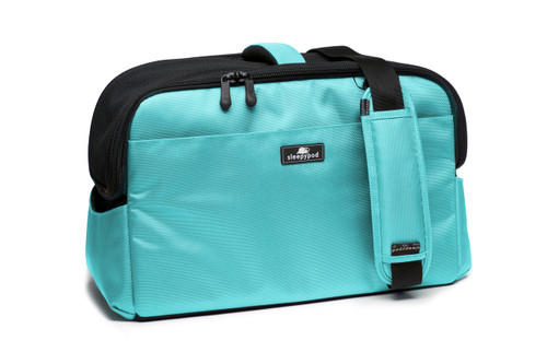 Robin Egg Blue Sleepypod Atom Airline Approved Pet Carrier has an adjustable, padded shoulder strap for shoulder carry