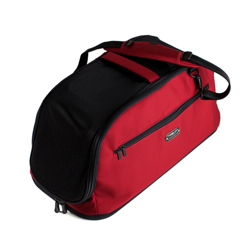 Sleepypod Air airline approved pet carrier in red with detachable, padded shoulder strap