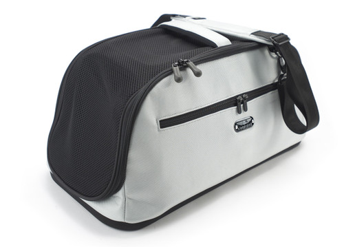 Sleepypod Air Silver Airline Approved Pet Carrier features a hand carry or shoulder carry option