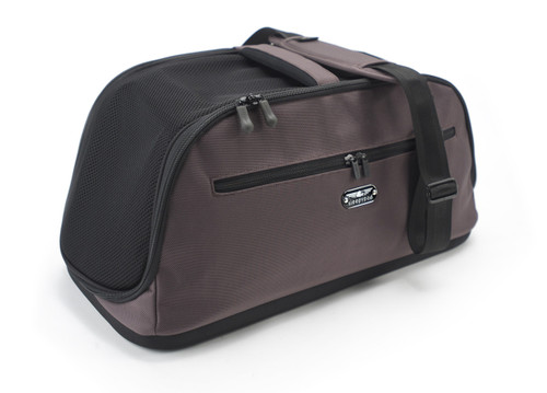 Sleepypod Air Chocolate Brown Airline Approved Pet Carrier has a padded, detachable shoulder strap and an integrated top carry handle