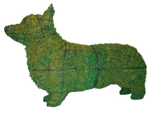 Mossed Corgi Topiary Sculpture