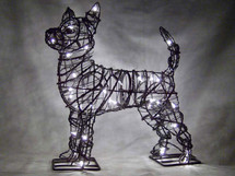 Lit Chihuahua Topiary Dog Sculpture