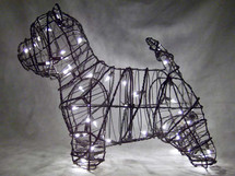 Lit Westie Dog Topiary Sculpture