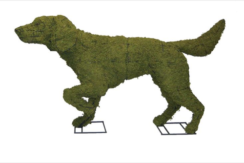 Mossed Pointer Topiary Dog Sculpture