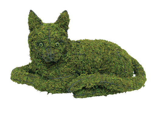 Mossed laying cat topiary sculpture