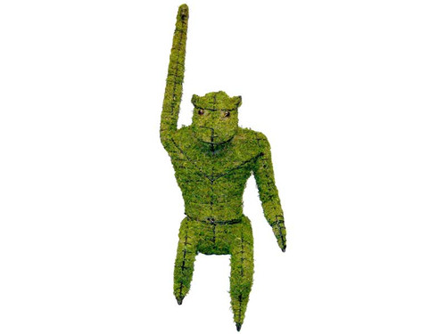 26-Inch Mossed Hanging Monkey Topiary Sculpture